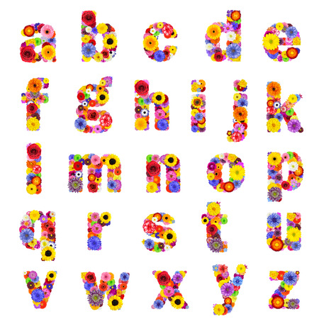 Full Floral lowercase Alphabet Isolated on White Background.  Letters A to Z made of many colorful and original flowers