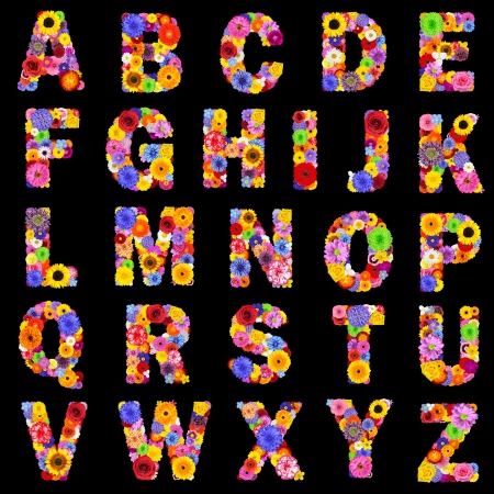 collage alphabet: Full Floral Alphabet Isolated on Black Background.  Letters A to Z made of many colorful and original flowers Stock Photo