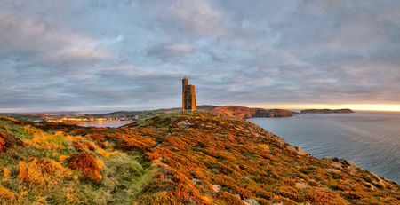mann: Panorama of South of the Isle of Man with Milner Tower. Port Erin on the Right and Calf of Mann on the left. Tranquil scene Stock Photo