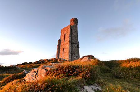 Milner Tower on Brada Head, Isle of Man, UK. Sunset tranquil scene