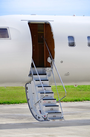 bombardier: Stairs on a luxury private jet aircraft - Bombardier Global Express