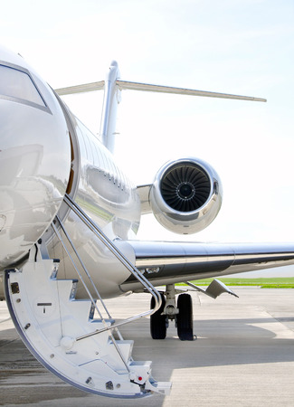 bombardier: Stairs with Jet Engine on a modern private jet airplane - Bombardier Global Express