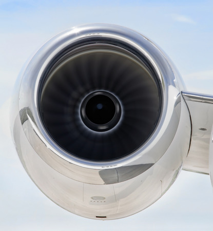 bombardier: Running Jet Engine closeup on a luxury private jet aircraft- Bombardier Global Express Stock Photo