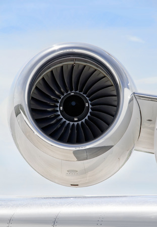 bombardier: Jet Engine with a part of a wing on a luxury private aircraft - Bombardier Global Express