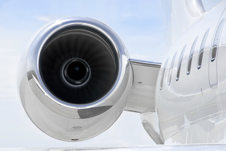 bombardier: Running Jet Engine closeup on a luxury private jet aircraft - Bombardier Global Express