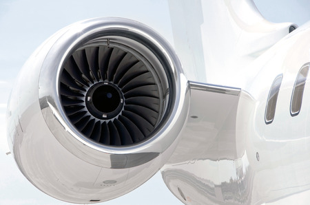 bombardier: Jet Engine closeup on a Private Plane - Bombardier Global Express