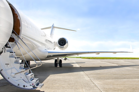 private: Stairs with Jet Engine on a modern private jet airplane  Stock Photo