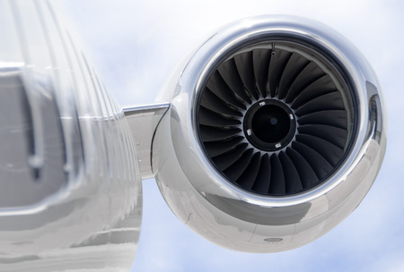 private jet: Jet Engine closeup on a modern private jet airplane