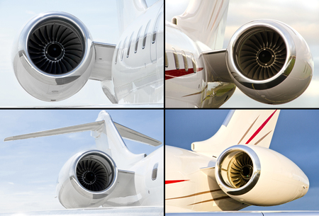 Collection of four jet engines on luxury private jet aircraft