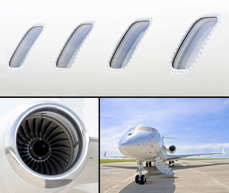 Collection of three photos of luxury private jet aircraft