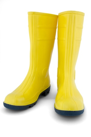 rubber: Rubber boots on white background Stock Photo