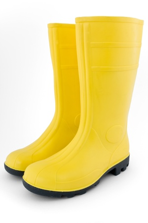 boot: Rubber boots on white background Stock Photo