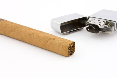 Cigar with cigar lighter on white background