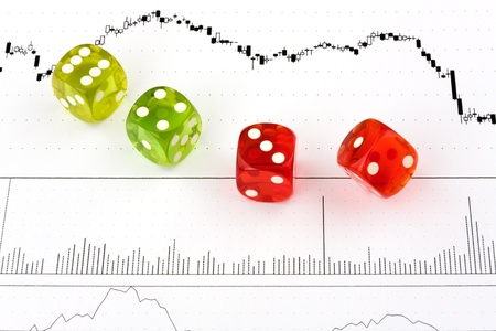 insolvency: Game Dice on a stock chart