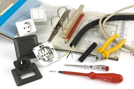 Electrician tool on a white background Stock Photo