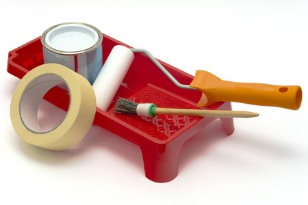 Painting tools on white background Stock Photo