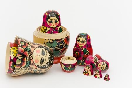 matrioshka: Matryoshka, a Russian wooden doll on a white background