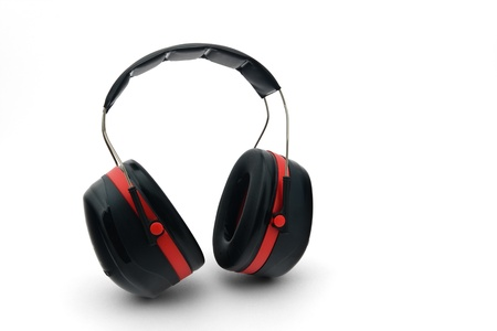 hearing protection: Hearing protection on a white background into