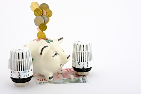 save heating costs: Coins falling into a piggy bank that is located on bank notes, coins and mapped where two heating thermostats on a white background.