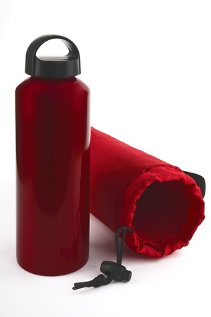 insulated drink container: A bottle with an insulated container on a white background shown.