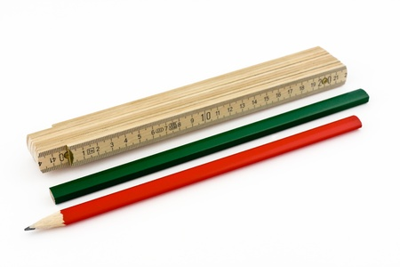 A ruler and two pencils depicted on a white background Stock Photo