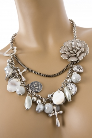 Fashion jewelry necklace displayed on a mannequin