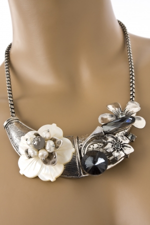 costume jewelry: Fashion jewelry necklace displayed on a mannequin