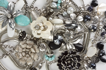 costume jewelry: Fashion jewelry displayed on a white background