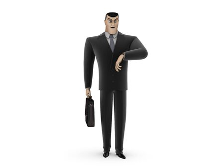 3D Businessman with a briefcase looking at his watch