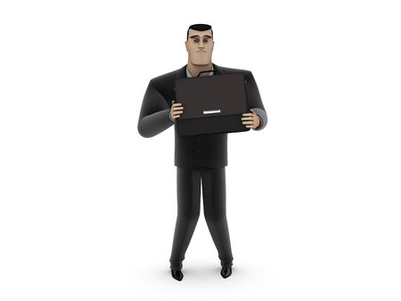 Frightened by a businessman with a briefcase on a white background