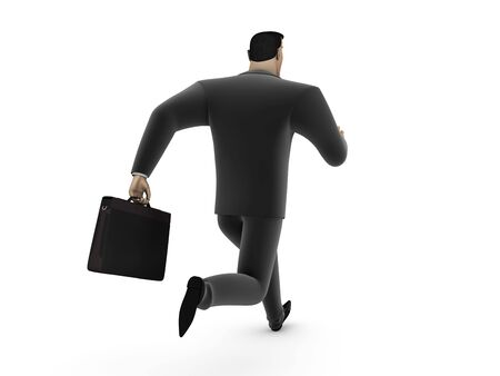 Running a businessman with a briefcase on a white background Stock Photo