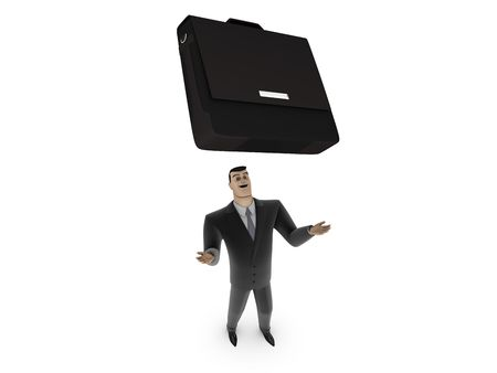 3D Businessman with briefcase on a white background