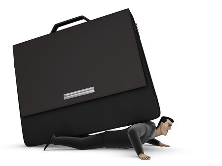 3D Businessman under a briefcase on a white background