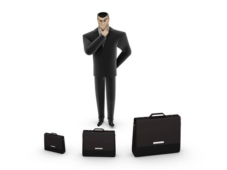 3D Businessman chooses a briefcase on a white background