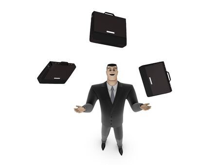 3D Businessman and briefcases on a white background
