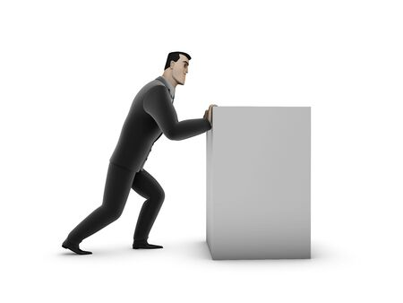 3d Businessman and box on a white background Stock Photo