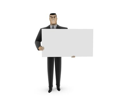 Businessman and white panel Stock Photo