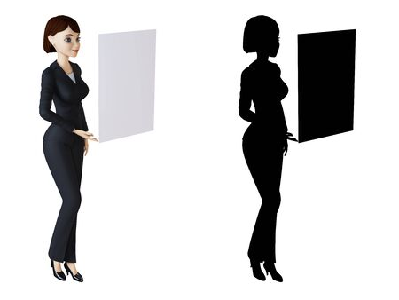 Businesswoman and white panel Stock Photo