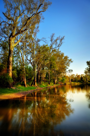 the water hole: Round Water Hole in Chinchilla Queensland Stock Photo