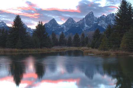 Sunset reflection at Schwabachers Landing, Grand Teton National Park, Wyoming
