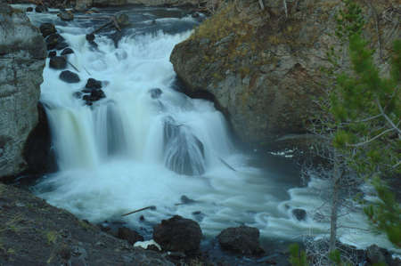 Firehole Falls on a fall morning in Yellowstone National Park