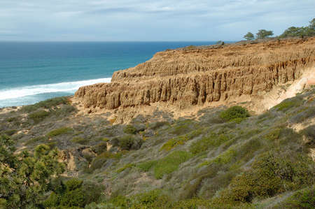 Scenic view of the bluffs overlooking Torrey Pines State Reserve, San Diego, CA Banco de Imagens