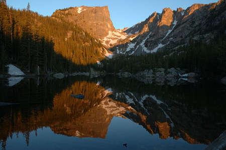 Sunrise reflection at Dream Lake, Rocky Mountain National Park, Colorado