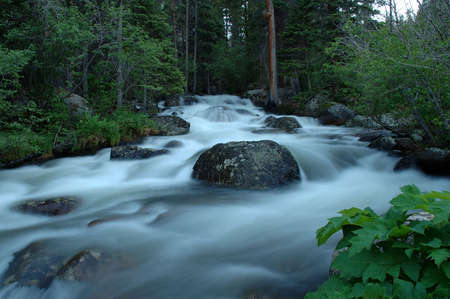 Glacier Creek around sunset, Rocky Mountain National Park, Colorado Banco de Imagens