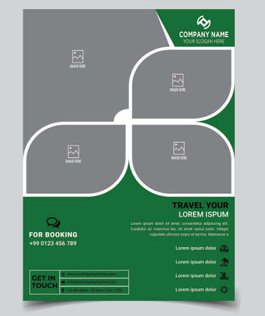 Happy traveling, tour flyer design template with abstract style and modern concept layout