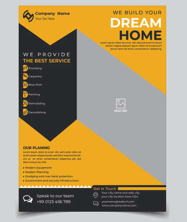 Home Repair, Building or Construction Flyer vector Template. Construction Brochure Cover, Poster template.