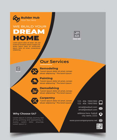 Home Repair, Building or Construction Flyer vector Template. Construction Brochure Cover, Poster template