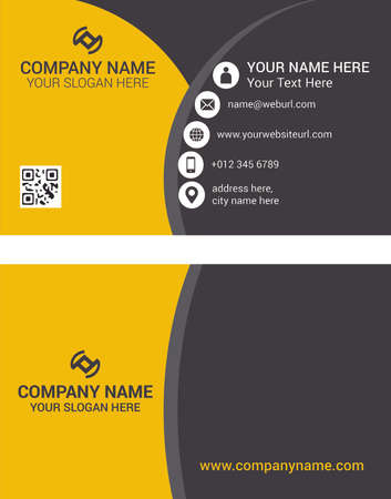 Horizontal orange and deep grey color business card vector template, simple clean layout design template