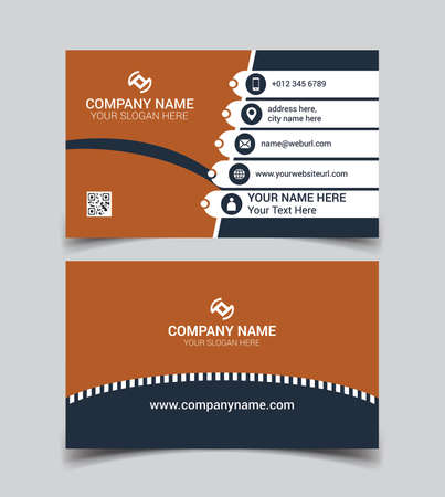 Horizontal orange and White color business card vector template, simple clean layout design template