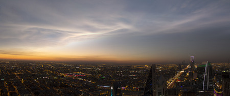 panorama sunset view of riyadh from faisalyia, mamlaka in view